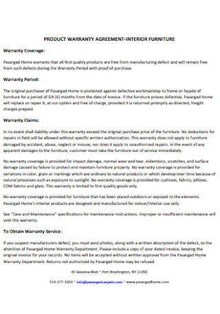 Product Warranty Agreement