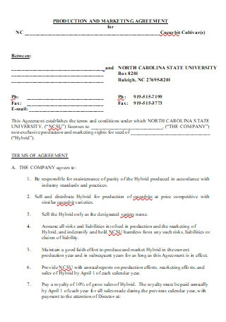 Production and Marketing Agreement