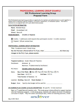 Professional Learning Group Proposal Form