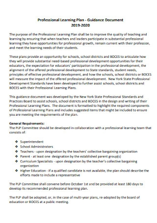 Professional Learning Plan Template