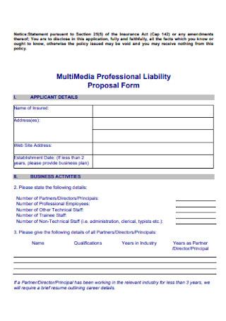 Professional MultiMedia Liability Proposal