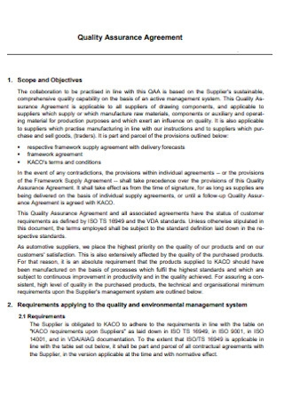 Professional Quality Assurance Agreement