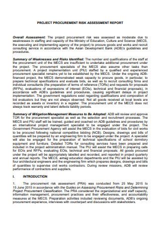 Project Procurement Risk Assessment Report
