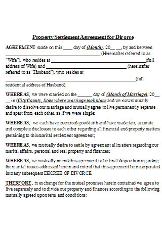 Property Settlement Agreement for Divorce