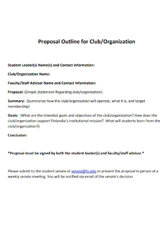 Proposal Outline for Club