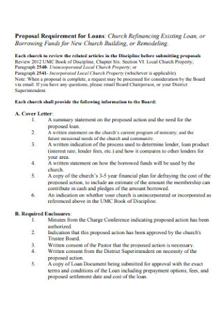 Proposal Requirement for Loan