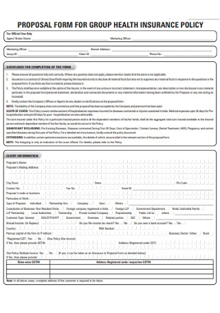 Proposal form for Group Health Insurance