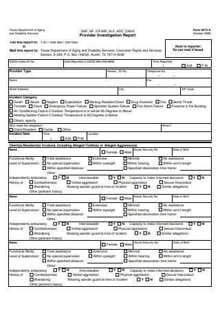Provider Investigation Report