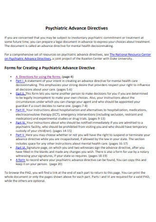 Psychiatric Advance Directives