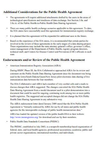 Public Health Data Sharing Agreement