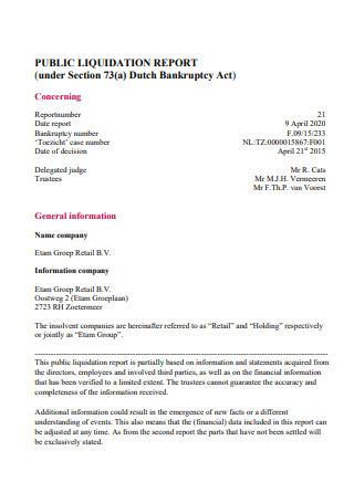 Public Liquidation Report