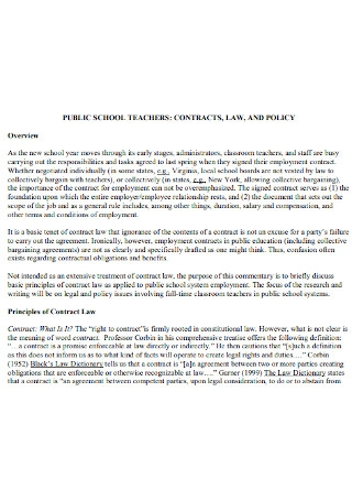 Public School Teacher Contract