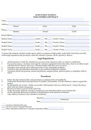 Public School Volunteer Contract