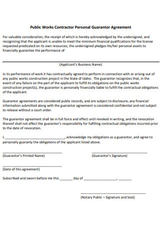 Public Works Contractor Personal Guarantor Agreement