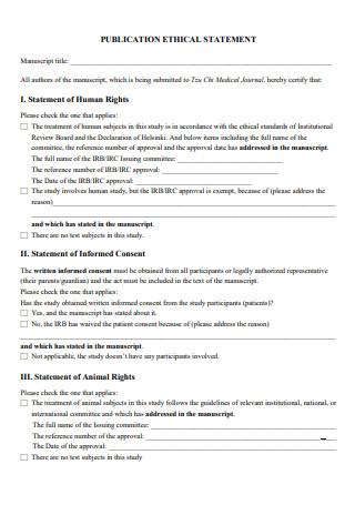 Publication Ethical Statement