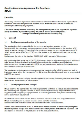 Quality Assurance Agreement for Suppliers