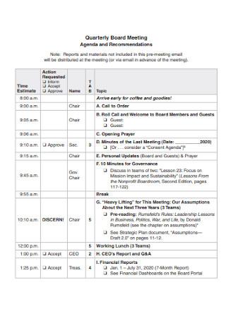 Quarterly Board Meeting Agenda