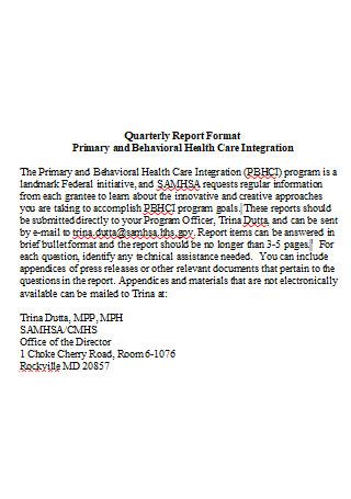 Quarterly Report Format