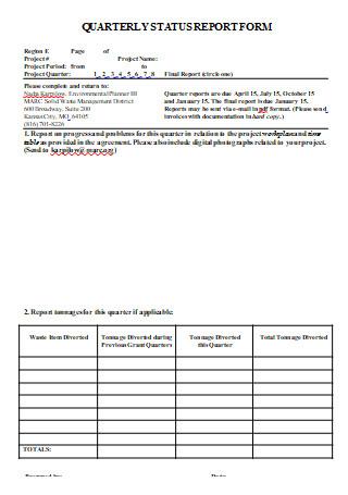 Quarterly Status Report Form