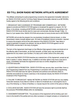 Radio Network Affiliate Agreement