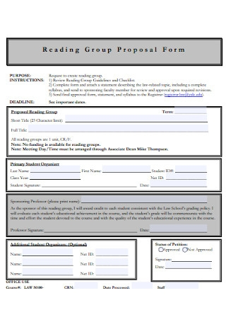 Reading Group Proposal Form