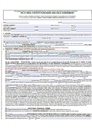 Real Estate Purchase and Sales Agreement Template