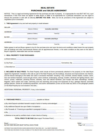 Real Estate Sale and Purchase Agreement