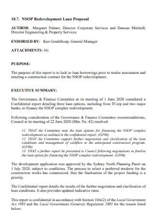 Redevelopment Loan Proposal