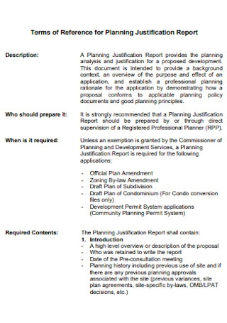 Reference for Planning Justification Report