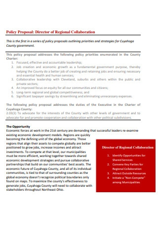 Regional Collaboration Policy Proposal