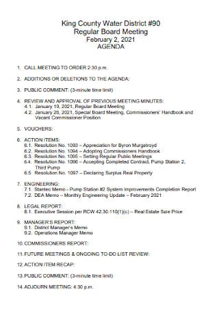 Regular Board Meeting Agenda
