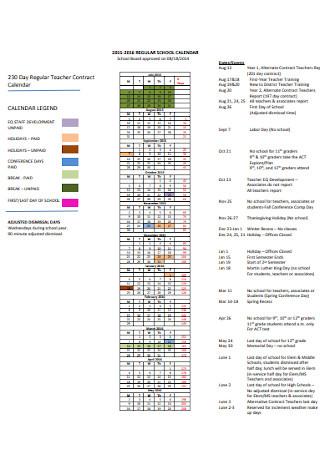 Regular Teacher Contract Calendar