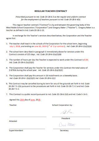 Regular Teacher Contract