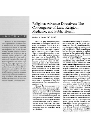 Religious Advance Directives