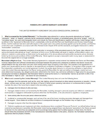 Remodelers Limited Warranty Agreement