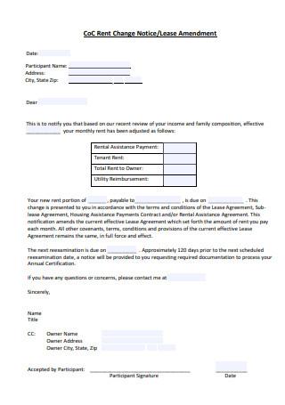 Rent Change Notice Lease Amendment