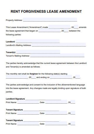 Rent Lease Amendment
