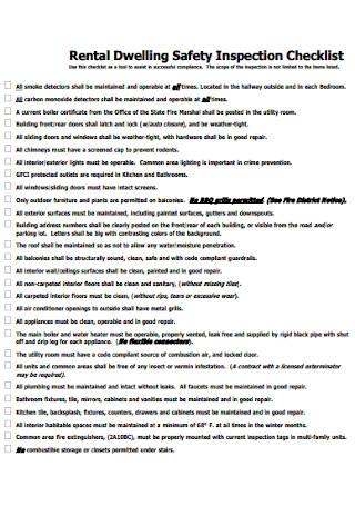 Rental Dwelling Safety Inspection Checklist