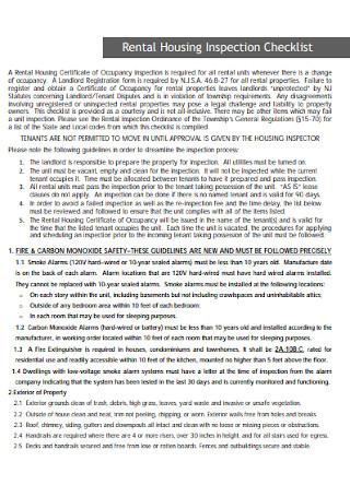 Rental Housing Inspection Checklist