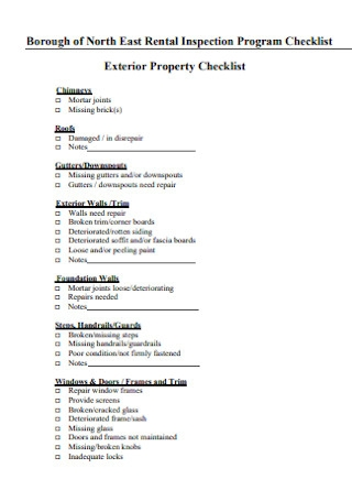 Rental Inspection Program Checklist