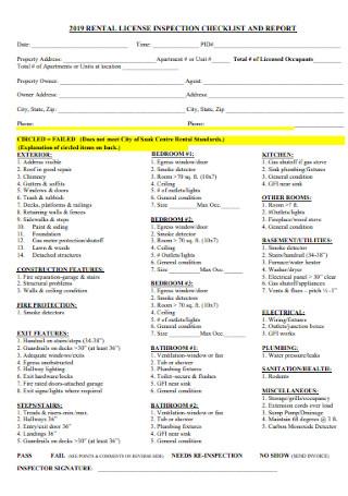 Rental License Inspection Checklist