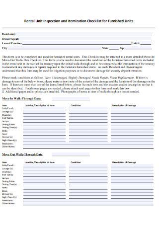 Rental Unit Inspection and Itemization Checklist