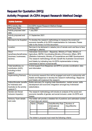 Request For Quotation Activity Proposal