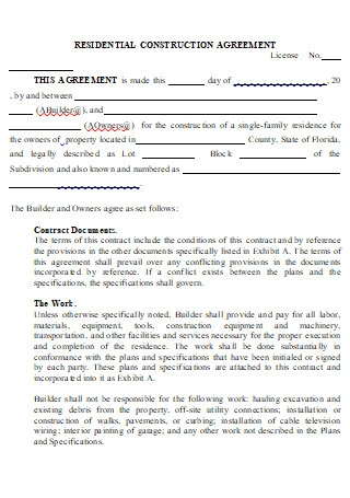 Residential Construction Contract Agreement