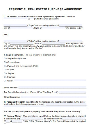 Residential Real Estate Purchase Agreement