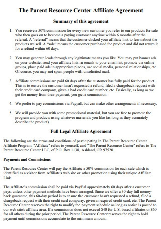 Resource Center Affiliate Agreement