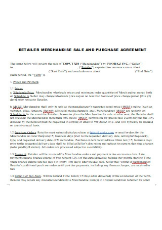 Retailer Merchandise Sale and Purchase Agreement
