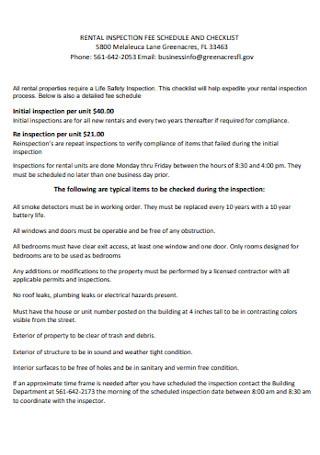 Retal Inspection Fee Checklist