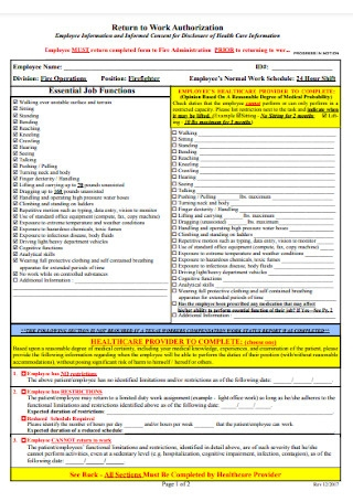 Return to Work Authorization Form Template