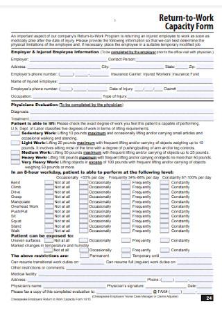Return to Work Capacity Form